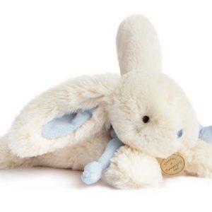 Knuffelkonijn wit/blauw